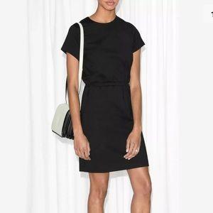 & Other Stories SZ 6 Black Elastic Waistband Dress